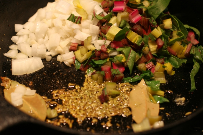 add chard onions and spices