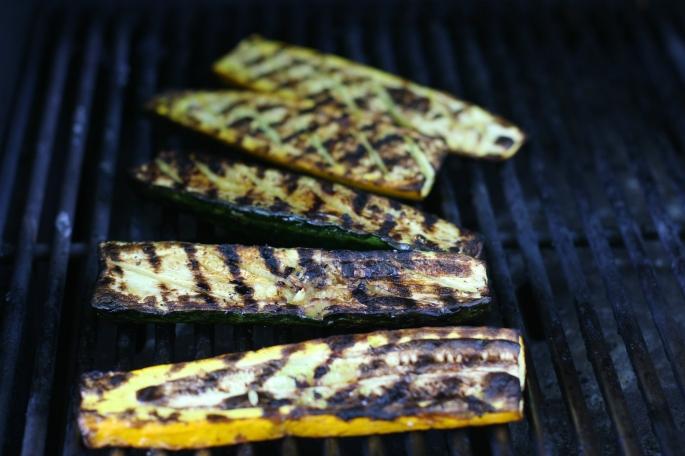 grilling the zucchini