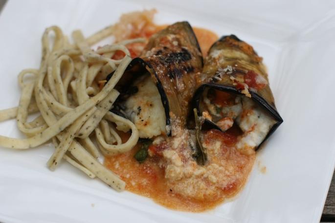 eggplant rolls with pasta