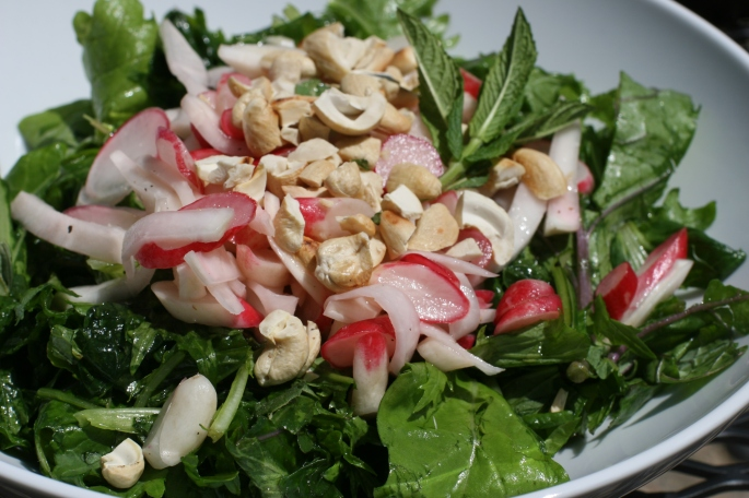 Radish greens salad