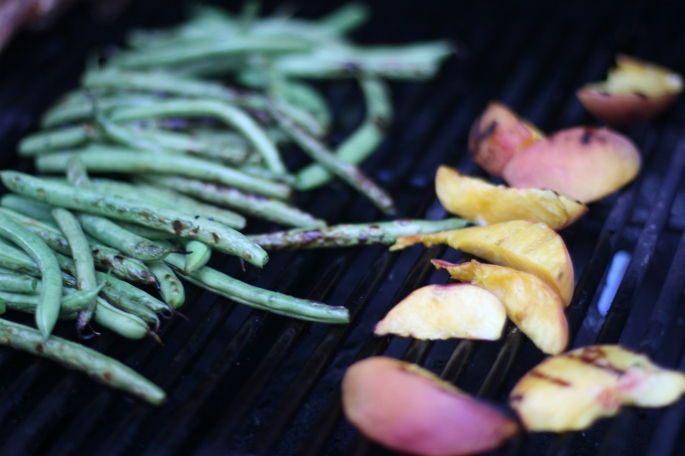 Grilling Beans and Peaches