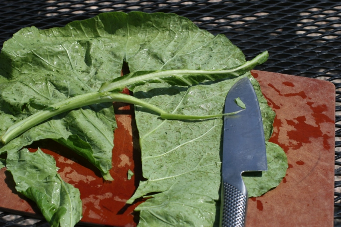 De-stem collards