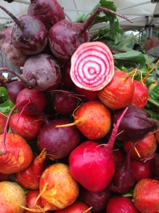 Beets with cut Chioggia Beet